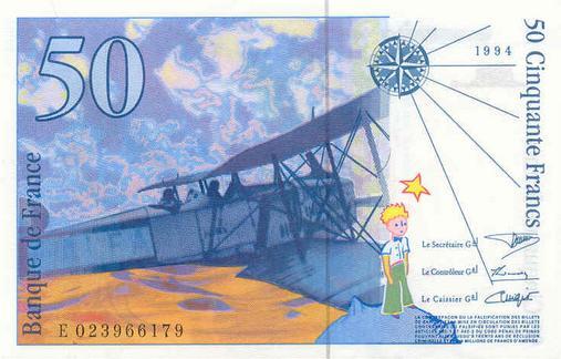 Le billet de 50 Francs Saint Exupéry